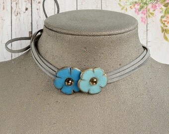 Blue wrap choker Flower leather necklace Long choker leather Boho necklace long Gift bridesmaids Bridal party gift Blue jewelry woman gift