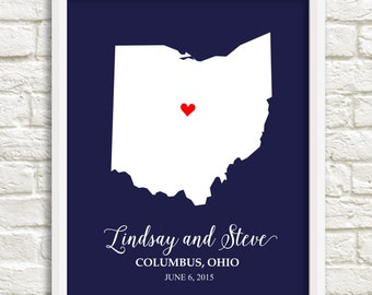 Couple's State Art, Ohio Couple's State Map, Personalized State Art, Wedding print, Anniversary Gift, Bridal Shower Gift, Housewarming Gift
