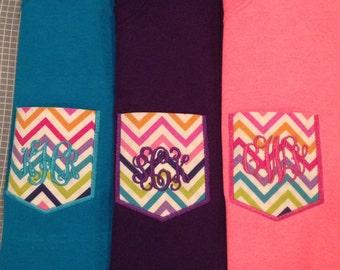Chevron Pocket/Personalized Pockets/T Shirt Pockets /