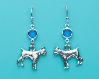 Boxer Dog Earrings, Boxer Dog Earrings, Sapphire Crystal Boxer Earrings, Animal Earrings, Dog Earrings, Dangle Earrings, Gifts for Her, 48