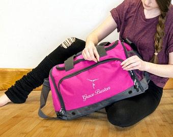 Personalised Embroidered Gymnastics Bag Holdall; Fuchsia / Black / Blue / Red
