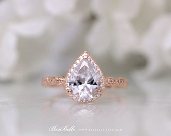 Art Deco Ring-Art Deco Ring-Art Deco Engagement Ring-2.70 ct.tw Pear Cut Diamond Simulants-Rose Gold Plated-Sterling Silver [6253RG-1]