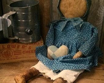 Primitive Prairie doll Cupboard tuck Vintage blue Faap Haha team Hafair team