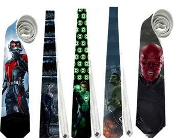 Necktie superheroes antman superman green lantern hulk red skull nerd cosplay comic books neck tie ant-man villain