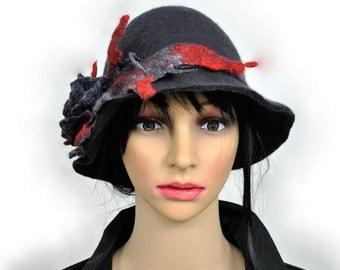 Felted hat / Dark graphite hat / Wool hat / Cloche hats / Nuno felt / Wool Women's hat