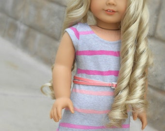 Gray/Pink Striped Tee-Shirt Dress for American Girl Dolls