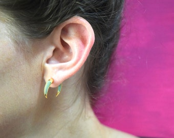"The ""Izabel"" Double Horn Gold Studded Turquoise or Black Earrings"