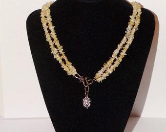 "Vintage sterling Double Strand of Genuine Citrine Gemstone 17"" Necklace."