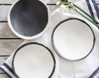 Set Of Ceramic Plate, Ceramic Cake Plate, Black And white Plate, Pottery Plate, Snack Tray, Serving Dishes, Housewarming Gift