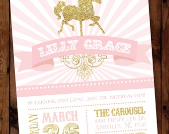Carousel Birthday Invitation (Pink), One Year Old Birthday Invitation #003