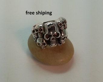 Men's skull ring in sterling silver, 92.5, large, heavy