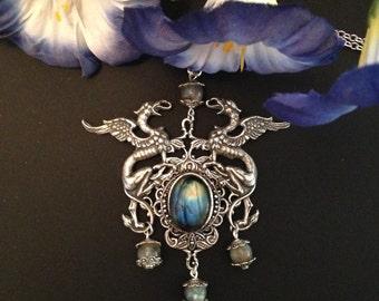 The Odyssey - Victorian Gothic Greek Mythology Inspired Vintage Labradorite Pendant Jewelry