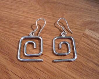 Vintage Art Deco Silver Spiral Earrings