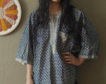 Handmade Blue & White Print Tunic / Dress