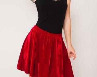 High waisted Silky Velvet Red Skirt. Christmas Skater Skirt, Comfortable Circle Skirt. New Years Eve Skirt, Party Skirt.
