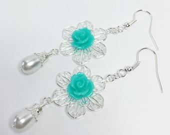 Jade Flower Earrings Pretty Wedding Jewelry Jade Rose Drop Earrings White Pearl Dangle Earrings Bridesmaid Gift Mother of The Bride Gift