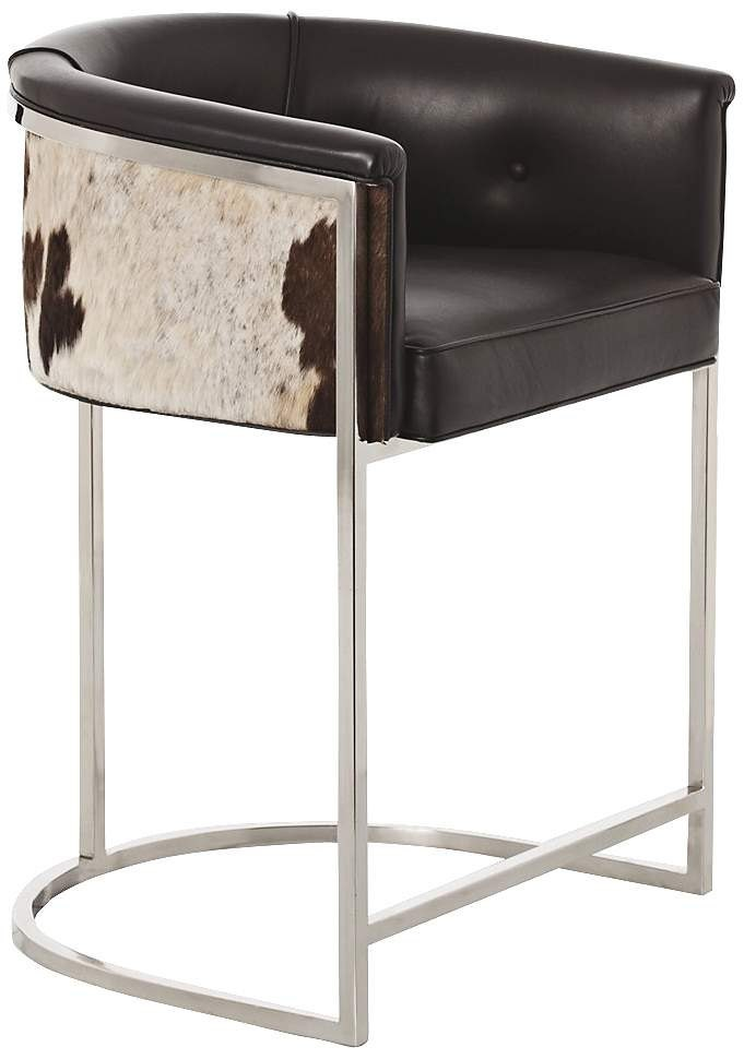 Bar Stool Counter Stool Cowhide Tufted Leather By Besofia