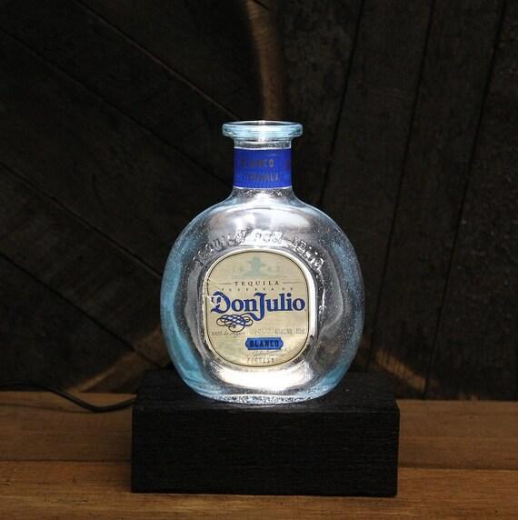 Don Julio Tequila Bottle LED Light / Reclaimed Wood Base & LED Desk Lamp / Handmade Tabletop Lamp / Upcycled Liquor Bottle Lighting