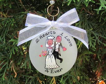 Wedding Ornament,Afro American Christmas ornaments, ornament,custom wedding ornament, wedding gift, gift for couple,Afrocentric wedding