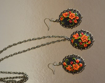 Jewelry set orange set polymer clay Handmade Jewelry gift idea|for|her orange|and|black Handmade Jewelry