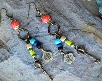 Long Boho Earrings, Picasso Czech Glass Earrings, Bronze Charms Earrings, Dangle, Drop, Hippie (E72)