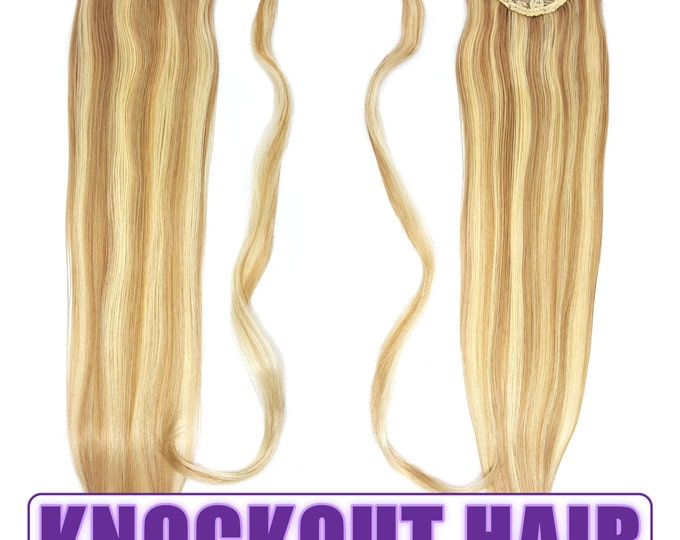 "Human Hair Ponytail Extension Wrap 20"" 80 Grams Remy Premium Grade AAAAA 100% Real Straight Silky (Dark Blonde/Light Blonde P#7B/613)"