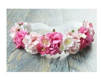 Shades of pink floral crown, flower crown