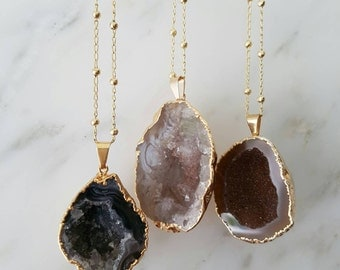 Agate Geode Necklace; Gemini Birthstone Gift; Thank you Gift;  Unique Gifts under 50 pounds; Raw Gemstones dipped in Gold