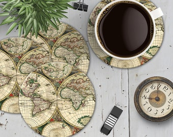 Vintage World Map Coaster Set, Map Coasters, World Travel Coasters, Boho Chic Map Coasters