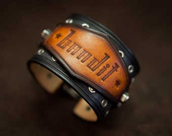 Vintage look bracelet leather cuff - blue leather bracelet - handmade in France