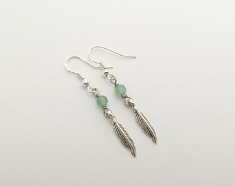 Hand Wrapped 925 Sterling Silver Aventurine Gemstone Feather Dangly Earrings, Nickel Free, Hypo Allergenic, Boho Chic