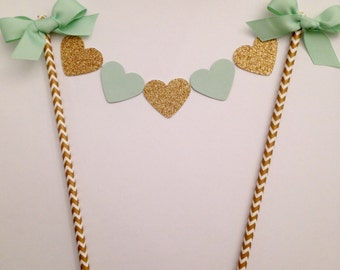 Mint and gold glitter heart cake topper, Bridal shower cake topper, gold chevron birthday and wedding cake bunting