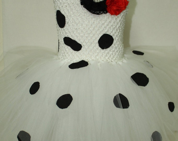 Girl's Disney inspired costume,Halloween dress, 101 Dalmatians, Dalmatian girl, Girls costume dress,Dalmatian theme dress,Dog ears headband,