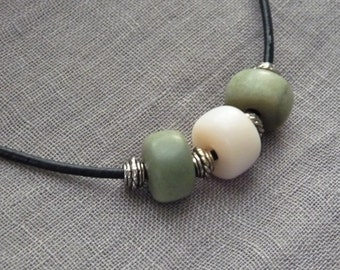 Chain / necklace soapstone * green soft pink * by soapstone-fee