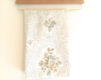 Vintage 60's Floral Standard Pillow Case by Lady Pepperell, Vintage Floral Linens, Vintage Tan, Green, Coral, and Blue Floral Pillow Case