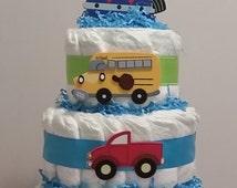 Vehicle diaper cake. Airplane, car bus, train. Choo, choo, honk, honk, beep, beep. FREE SHIPPING