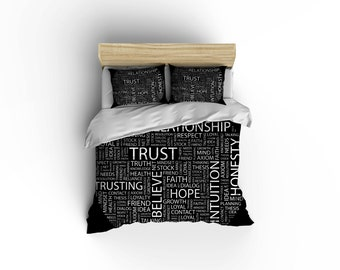 Word Puzzle Duvet Cover, word bedding, Word puzzle, Relationship bedding,Trust word puzzle,
