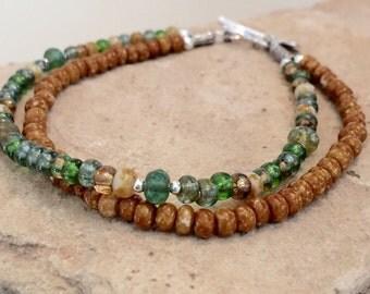 Multicolored seed bead bracelet, double strand bracelet, sterling silver bracelet, Hill Tribe silver bracelet, boho style bracelet