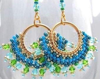 Hoops hoop earrings gold Swarovski crystals turquoise earrings beadwork embryo handmade