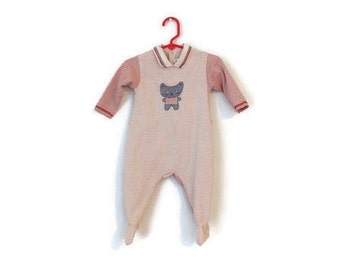 Vintage Catinini Red Striped 6M Footie Onesie / Embroidered Cat Baby Clothes