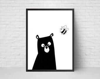 Bear Nursery Print, Bear with Bee, Bear Art, Black and White Modern Kids Room Decor, Large Print, Minimalist Poster, Woodland, Baby Shower