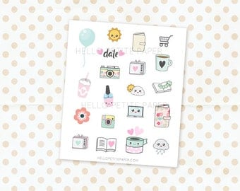 Mini sampler set - 20 Cute glossy planner stickers