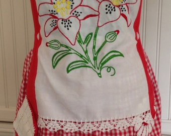 Vintage full apron red gingham button bodice