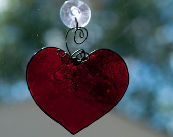 Large Red Stained Glass Heart