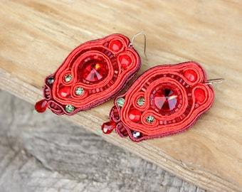 Red earrings Birthday gift idea for women Soutache earrings Red dangle earrings Bead earrings* Ethnic jewelry inspirational earrings