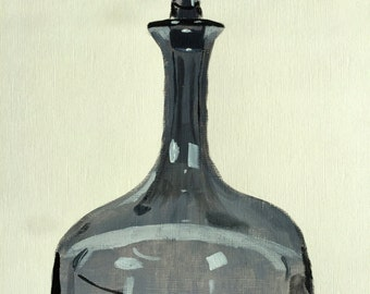 Smoked glass decanter painting 9x12