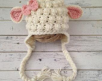 Crochet Baby Girl Lamb Hat, Animal Photo Prop, Baby Sheep Hat, Child Lamb Hat, Girl Baby Sheep Hat, Lamb Newborn Photo Shoot, MADE TO ORDER!