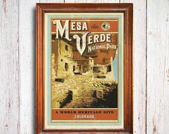 Mesa Verde Poster, mesa verde National Park print, Colorado Poster, Cliffs Poster, national park quest poster