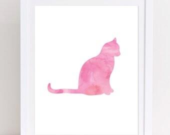 Cat Print, Cat Printable, Pink Cat Print, Printable Wall Art, Watercolor Cat, Cat Wall Art,  Decor, Girls Nursery Decor, Cat Lady Gift, Meow