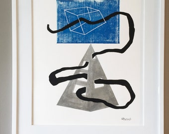 Geometric Art, Minimual Art, One of a Kind Art, 11 x 14 Artwork